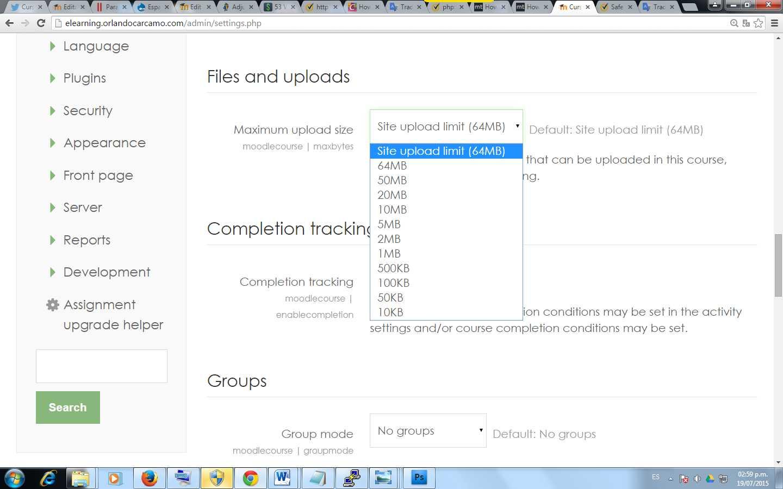 Cómo aumentar la capacidad de subida de archivos en Moodle | Espacio ...